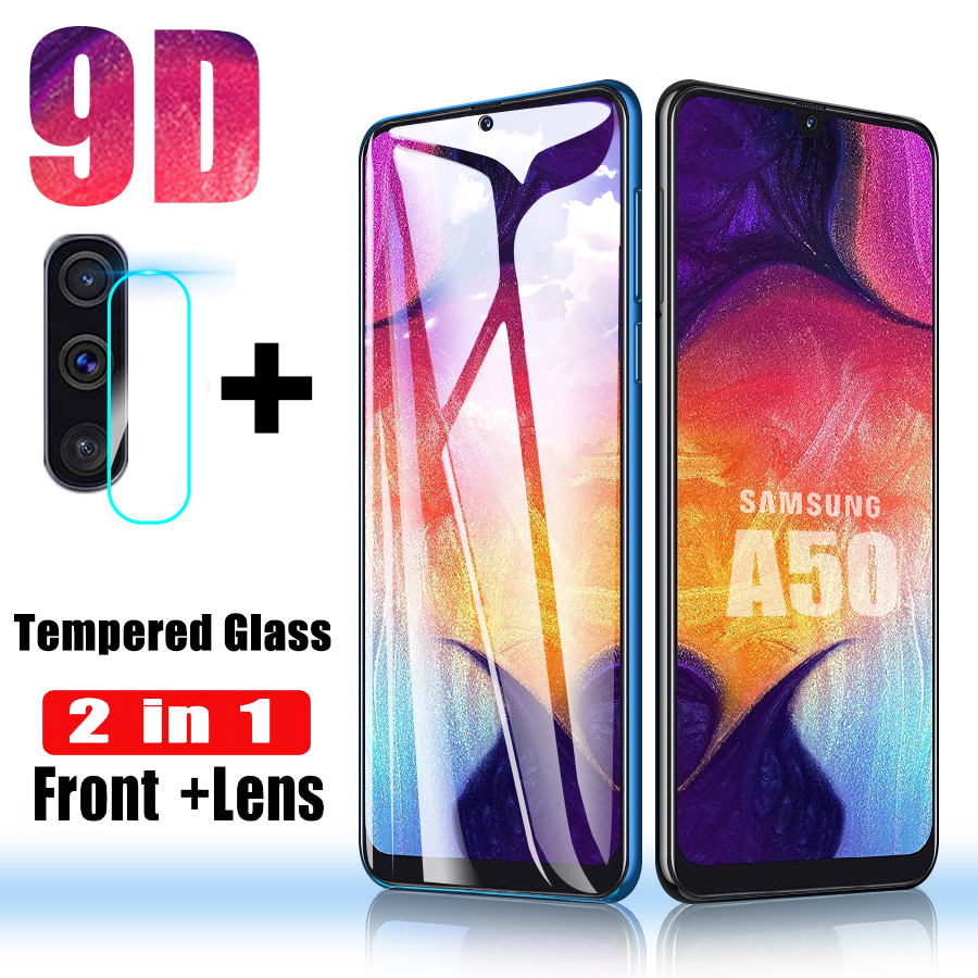 2 in 1 Screen Protector for <font><b>Samsung</b></font> Galaxy A50 <font><b>Glass</b></font> for <font><b>Samsung</b></font> A10 A40 A70 Tempered <font><b>Glass</b></font> <font><b>A</b></font> 50 Lens Protective Glas Lens Film image