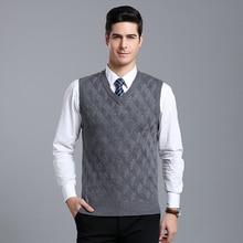 MACROSEA v-образный вырез ромбовидный узор трикотажный шерстяной свитер классический дизайн Деловой повседневный мужской шерстяной пуловер Новое поступление 1911