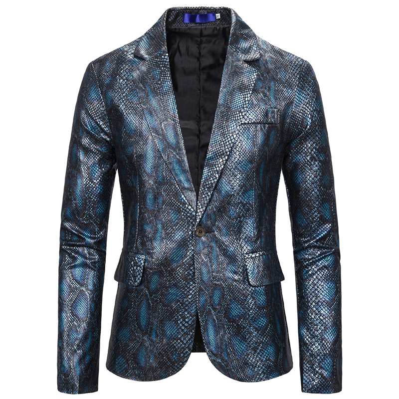 One Button Men Fashion Suit Jacket Long Sleeve Autumn Spring Light Weight Snakeskin Blazer Streetwear Dj Jackets Big And Tall