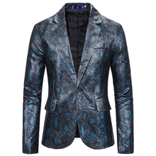One Button Men Fashion Suit Jacket Long Sleeve Autumn Spring Light Weight Snakes