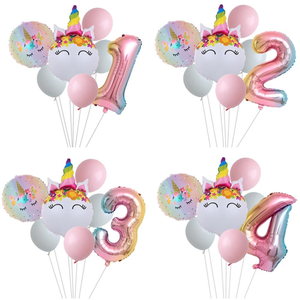 Радуга Единорог шар номер фольга Globos Для детей 1, 2, 3, 4 лет ко дню рождения Детская вечерние подкладкой детская верхняя одежда с Микки Маус те...