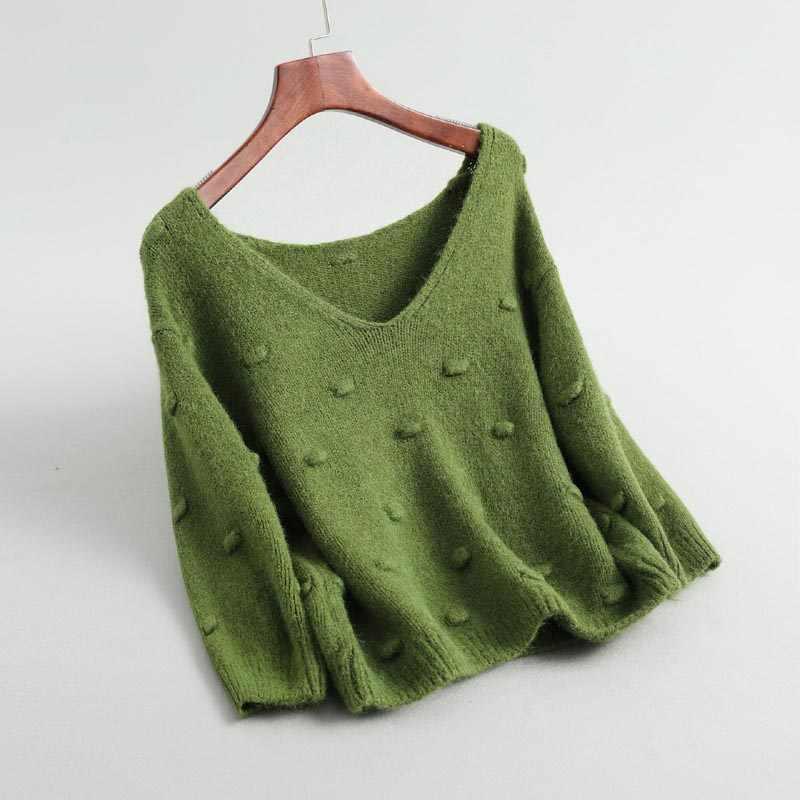 J302 여성 세련 된 v 넥 batwing 슬리브 크로 셰 뜨개질 볼 데코 하프 슬리브 스웨터 소프트 패션 가을 울 혼합 니트 점퍼