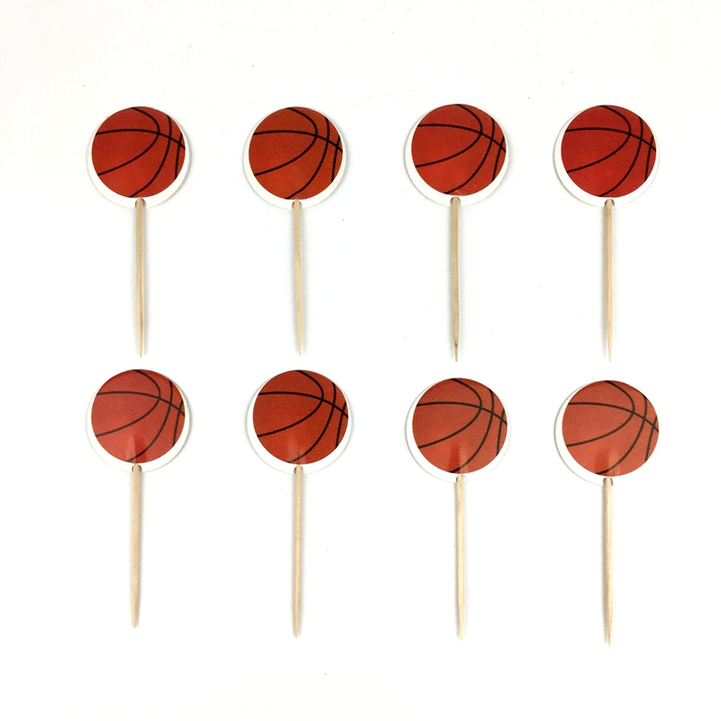 24PCS Basketball Soccer Theme Cupcake Toppers Baby Shower Party Decorations Kids Boys Favors Events Birthday Cake Toppers image
