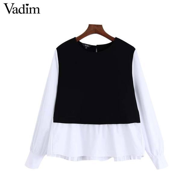 Vadim נשים אופנה משובצת טלאי חולצה ארוך שרוול O צוואר חולצות נקבה מקרית אופנתי חולצות blusas LB588