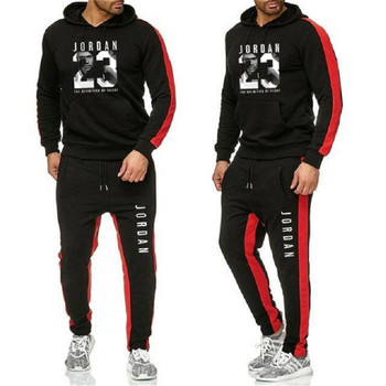 Mens thick breathable sportswear gym fitness compression sports suit running jogging printing leisure trous