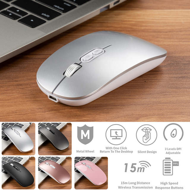 Wireless Rechargeable Mouse Mini Silent Button Ultrathin USB 1600DPI Optical Mute Computer Mice for Laptop Gaming Mouse,Pink