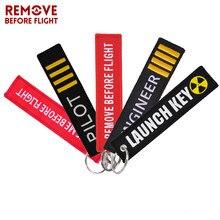 Remover antes do vôo chaveiro jóias bordado engenheiro chaveiro para aviação presentes tag de bagagem moda piloto chaveiros