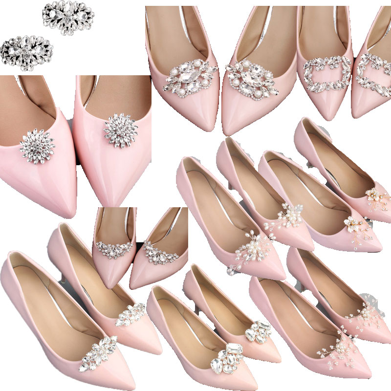 2pcs Shoe Clip Wedding Shoes High Heel Women Bride Decoration Rhinestone Shiny Decorative Clips Charm Buckle Shoe Accessoires