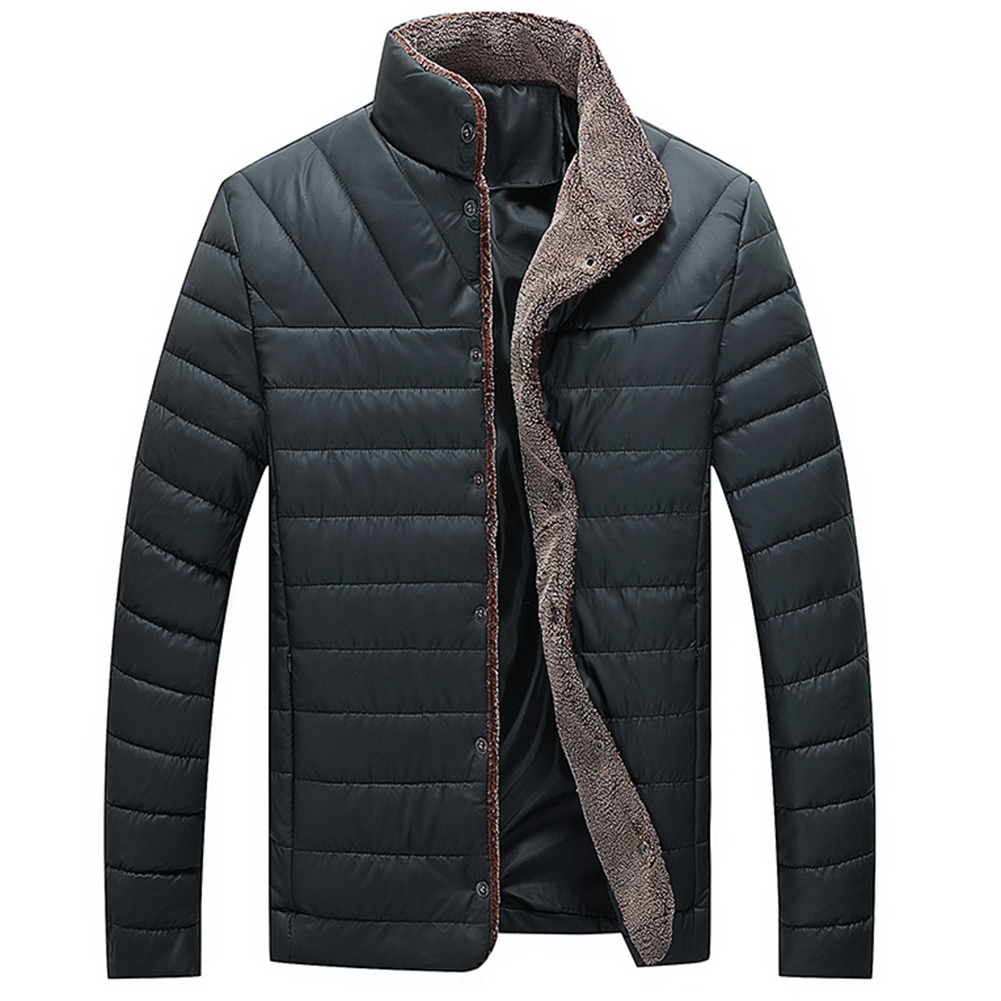 Winter Jacket Mens Mock Neck Parka Pure Cotton Plush Warm Coat Long Sleeve Slim Washable Plush Coats Down Jacket