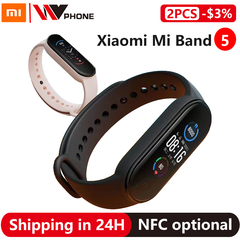 Xiaomi Mi Band 5 Smart Bracelet 4 Color AMOLED Screen Miband 5 Smartband Fitness Traker Bluetooth Sport Waterproof Smart Band