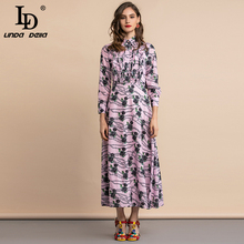LD LINDA DELLA Autumn Fashion Runway Shirt Dress Plus size Women's Long Sleeve Ruched Ruffles Floral Print Midi Vintage Dress ld linda della runway maxi dress women s flare sleeve belt casual bohemian party holiday lemon floral print long dress