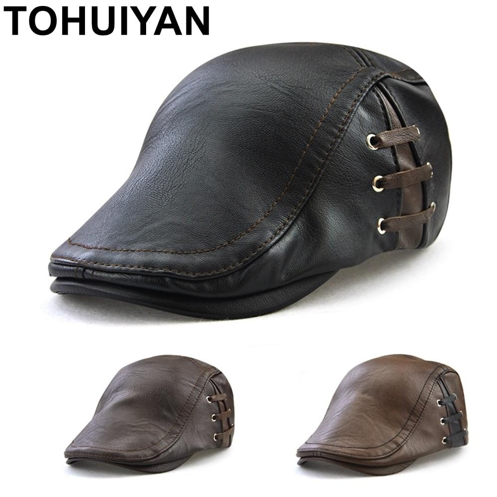 TOHUIYAN Leather Newsboy Hat For Men Winter Warm Beret Cap British Gentleman Boina Gorras Planas Male Flat Caps Retro Gatsby Hat