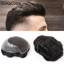 Q6 Men Toupee Real Hair Wig Lace Front Weaves Human Hair Wig Natural Hairline Male Wigs Hair Replacement System Free Shiping
