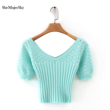 SheMujerSky Women Knitted Blouse Summer Solid Color Hollow Out Short Slim Tops 2020 Ladies