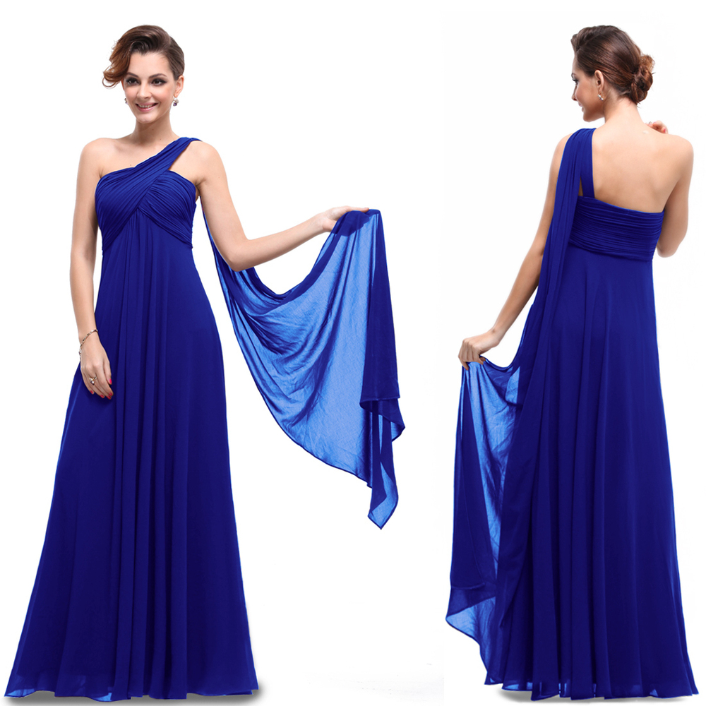 Free Shipping 2013 New Design Hot BNWT One Shoulder Custom Size/color Padded Ruffles Pleat Beach Long Chiffon Bridesmaid Dresses