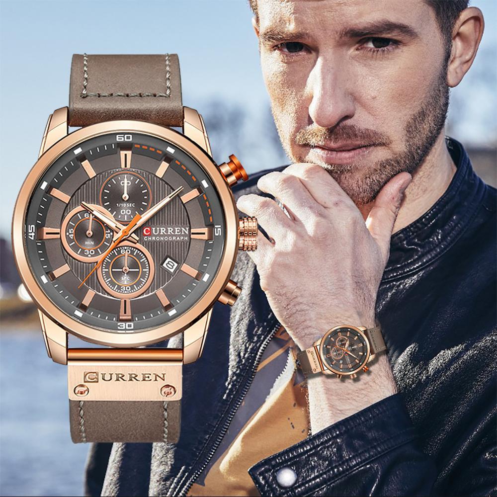Waterproof Calendar Quartz Watch Round True Three Eyes Men's Business Watch Luxury Fashion Sports Leather Strap Wristwatches