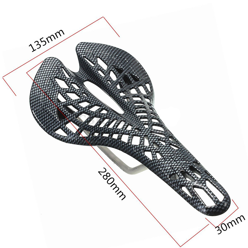 Mountain bike saddle mountain bike spider hollowed-out dead fly breathable carbon print light seat cushion