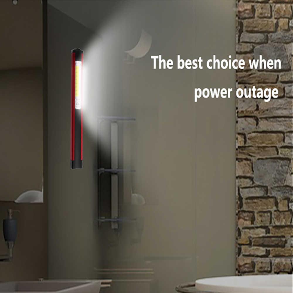 Potente luz de trabajo COB LED linterna magnética Lámpara de trabajo USB recargable linterna de inspección con luz roja/blanca