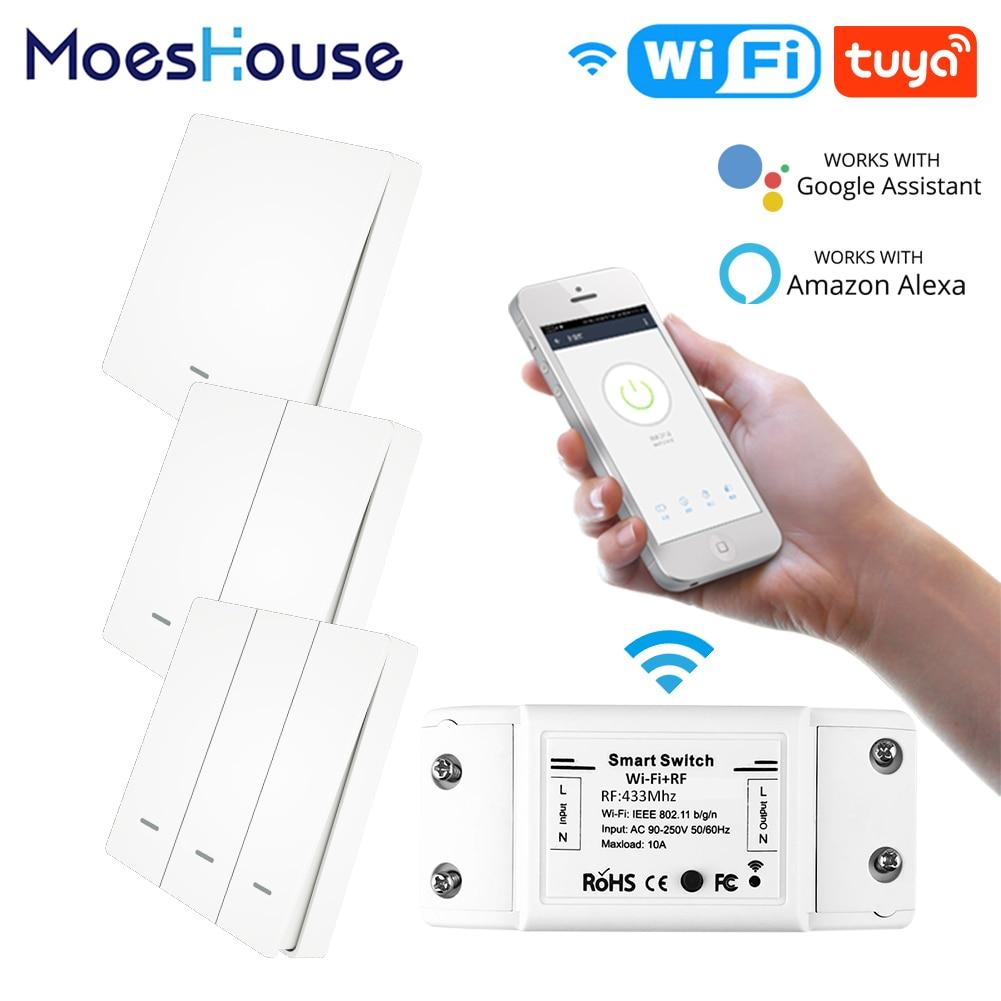 RF433 WiFi Wireless Remote Control Smart Switch Wall Panel Transmitter Smart Life/Tuya APP Works With Alexa Google Home
