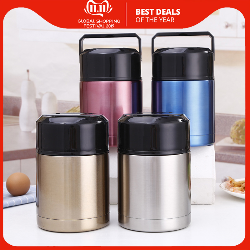 Large Capacity Thermos Stainless Steel Vacuum Insulated Thermal Lunch Container Flask Insulated Food Jar Wide Mouth 800ML&1000ML