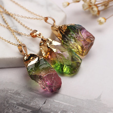 цены Women Crystal Necklace Rainbow Color Dyeing Natural Stone Necklace Natural Rough Stone Crystal Stigma Pendant Necklace