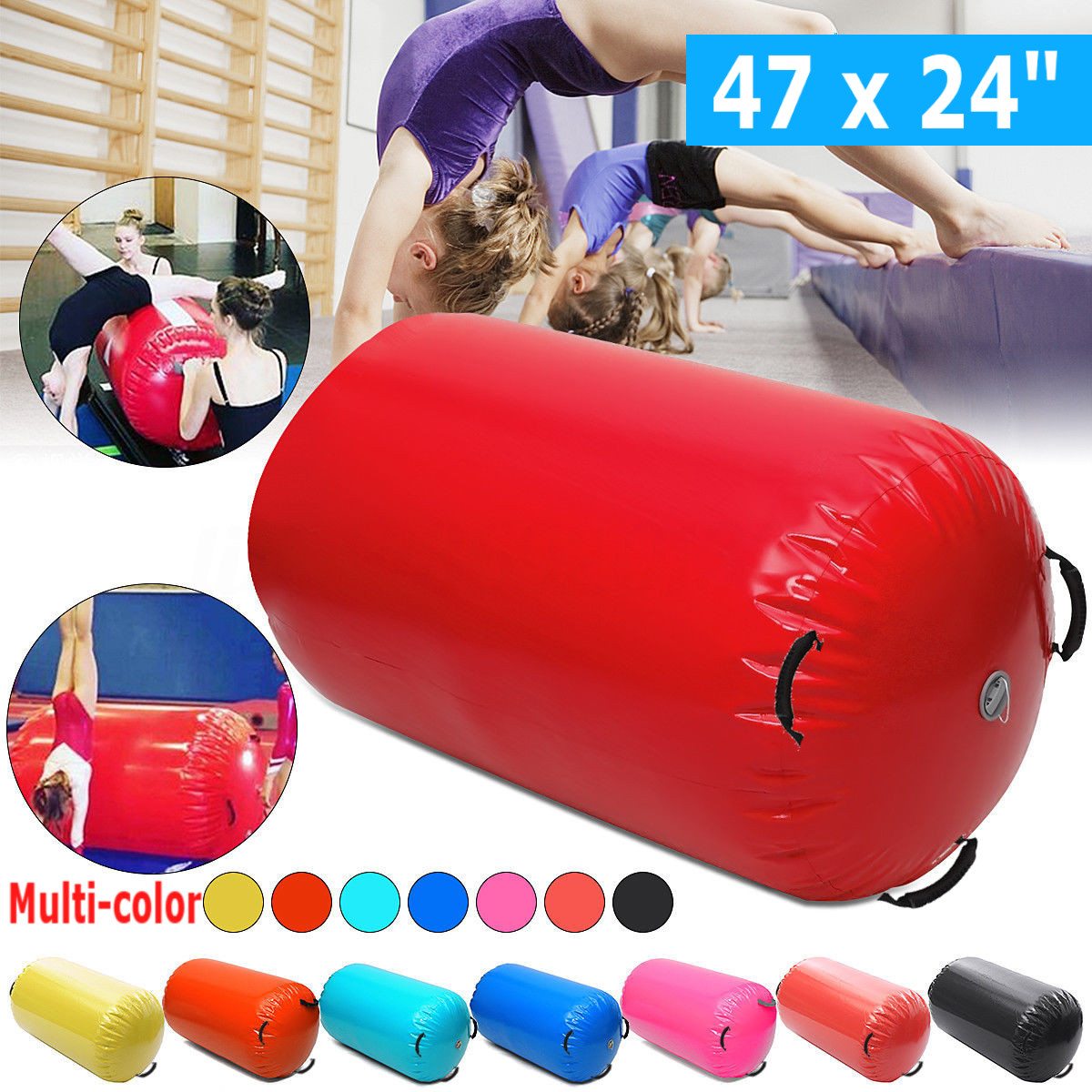 120x60cm Inflatable Gymnastic Air Rolls Beam Yoga Gymnastics Cylinder Airtrack Exercise Column