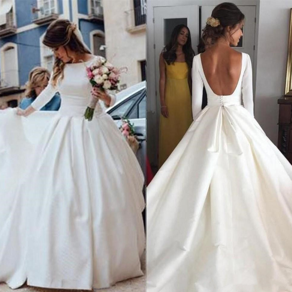 Simple Open Back Wedding Dresses Long Sleeve Ball Gown Bridal Gowns Bohemia A Line Vestido De Novia Cheap Wedding Dresses Aliexpress