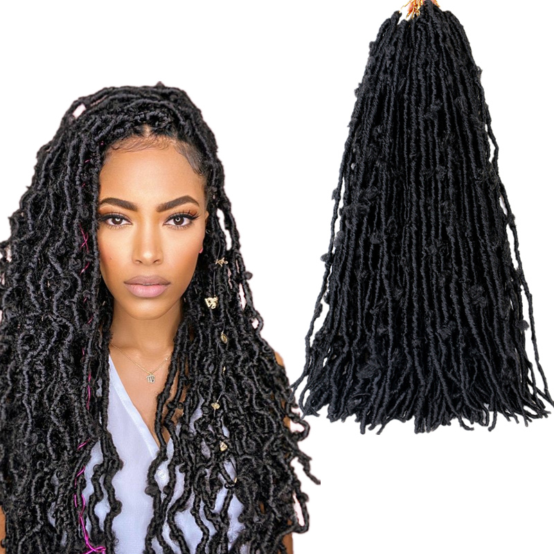 Full Star Butterfly Locs Soft Crochet Hair Short Distressed Faux Locs Crochet Braids Pre looped Natural Messy Pre-twisted Braid