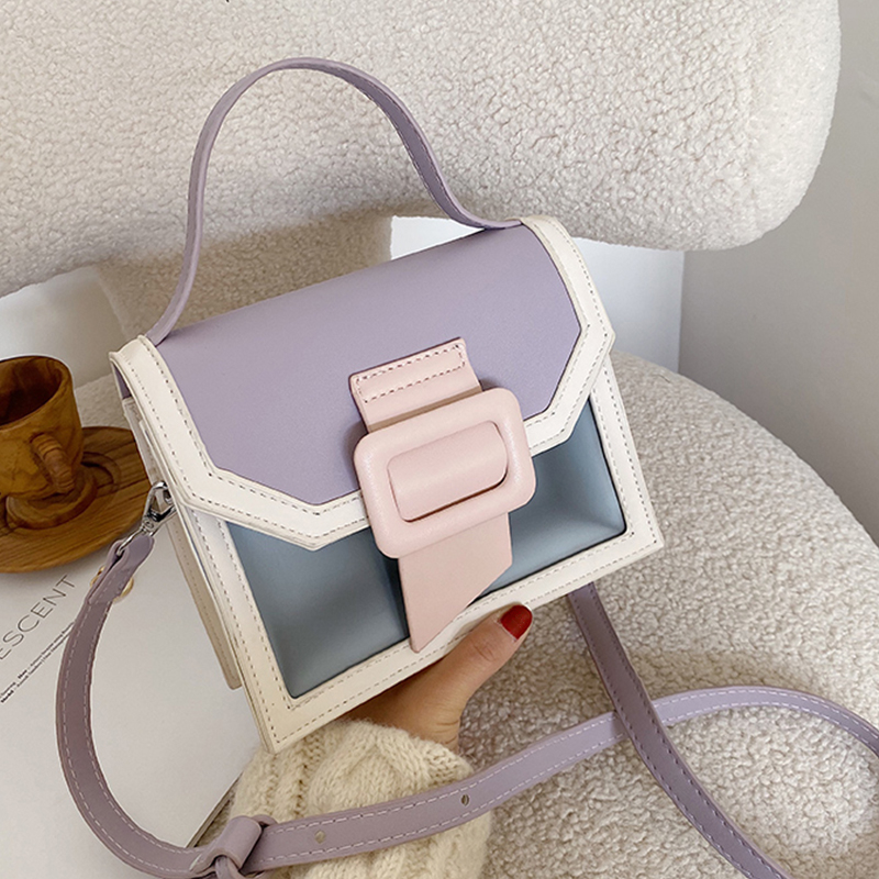 Contrast Color Design Pu Leather Crossbody Bags For Women 2020 Summer Lady Small Shoulder Messenger Bag Female Travel Handbags