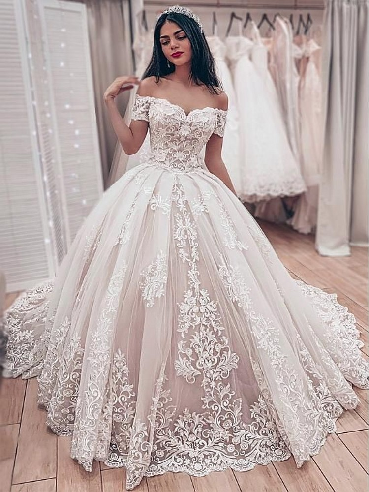 Vestido De Noiva Gorgeous Lace Ball Gown Sweetheart Off The Shoulder Appliques Lace Up Back Muslim Bride Wedding Dresses
