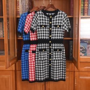 France style women's elegant knitted Dress Spring Autumn High quality Short sleeves Plaid dress C361