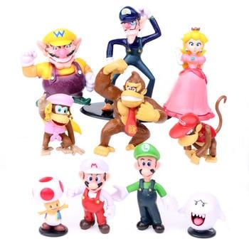 10pcs/lot  Super Mario Bros Luigi Peach Donkey Kong Action Figures Toys PVC Action Figures Toys Model Dolls super mario bros figures 13cm japan anime luigi dinosaurs donkey kong bowser kart pull back car pvc figma kids hot toys for boys