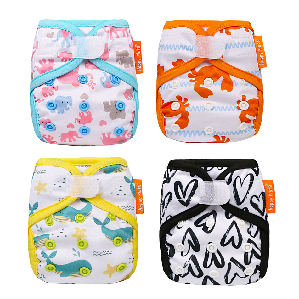 Happy Flute Newborn Tiny Diaper Cover Washable Baby Cover Cartoon Animal Adjustable Nappy Reusable Cloth Diapers Available