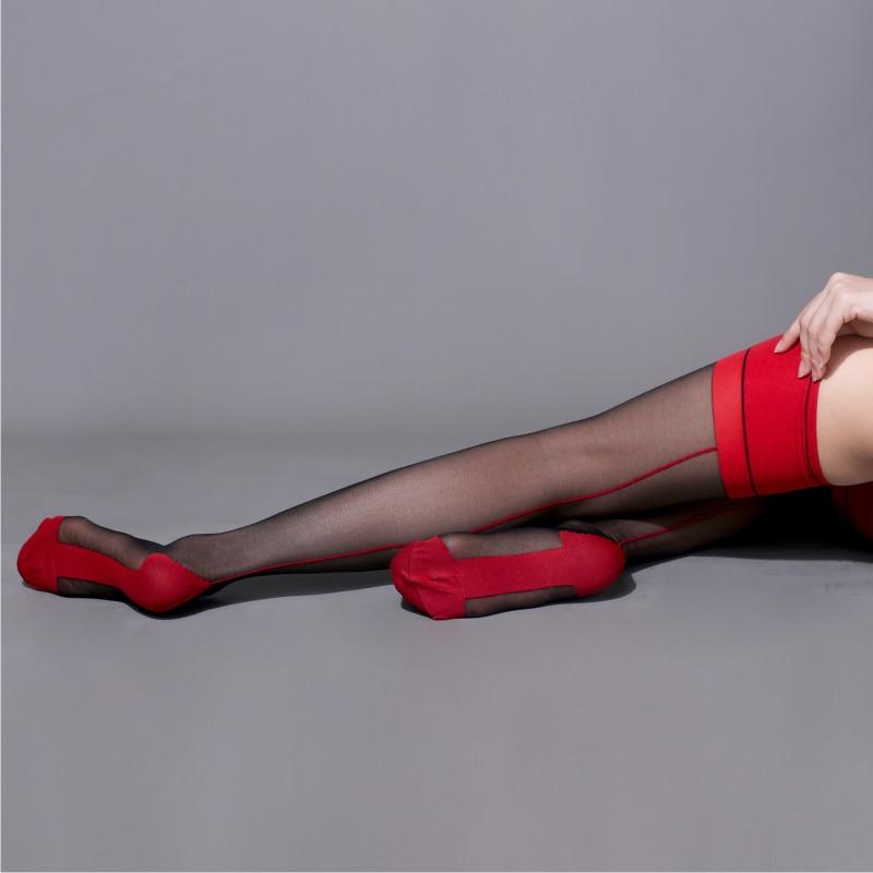10D Transparent Thigh High Stockings Retro Back Seam Cuban Heel Stockings Women Sexy Lingerie Patchwork Nylon Pantyhose