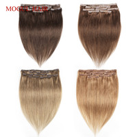 Mogul Hair Clip In Human Hair Extensions Color 8 Ash Blonde Dark Brown Straight Human Hair 1Set Indian Non Remy Hair Extension
