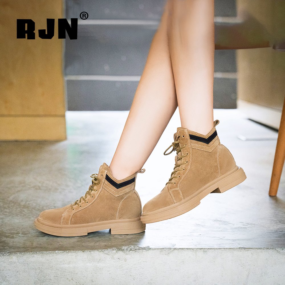 Buy RJN Cow Suede Ankle Boots Mixed Color Sewing Decoration Lace-Up Comfortable Round Toe Low Heel Leisure Shoes Women Boots RO59