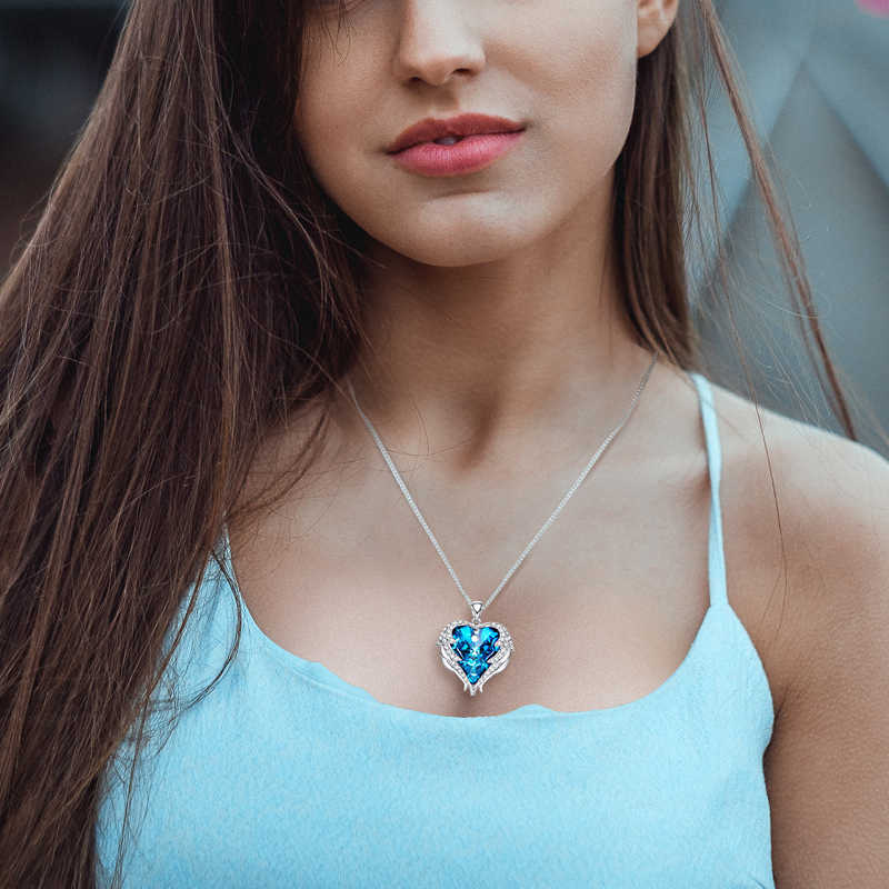 Cdyle אופנה נשים נחושת חומר שרשרת עם צבעוני קריסטל מלאך כנפי לב תליון שרשרת מסיבת יום הולדת מתנה