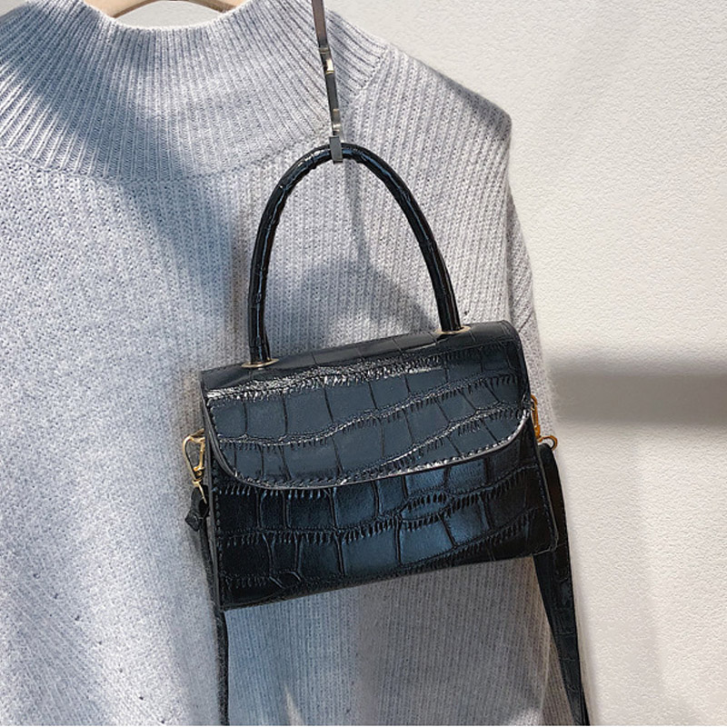 2019 Luxury New Fashion Women's Bags Small Square Handbag Korean Style Stone Pattern Simple Desiger Crossbody Mini Female Bag
