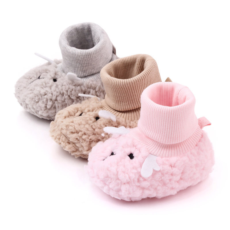 Thick Warm Coral Fleece Winter Baby Shoes Soft Bottom Anti Slip Newborn Baby Girl Shoes First Walkers Toddler Shoes Girls Floor