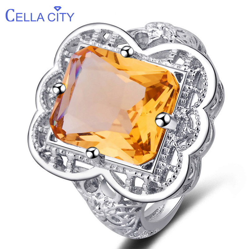 Cellacity Vintage Silver 925 Ring For Women Silver Jewelry Yellow Topaz Rectangle Gemstone Ring For Women Accessories Wholesale