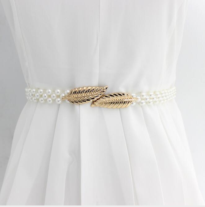 1PCS Elegant Women Pearl Belt Waist Belt Elastic Buckle Pearl Chain Belt Female Girls Dress Crystal Strap