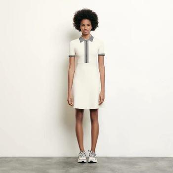 2020 Spring/summer Slim-cut Zip-up White Striped Knit A-line Dress with Lapel Women Dress Party Dress Mini Dress