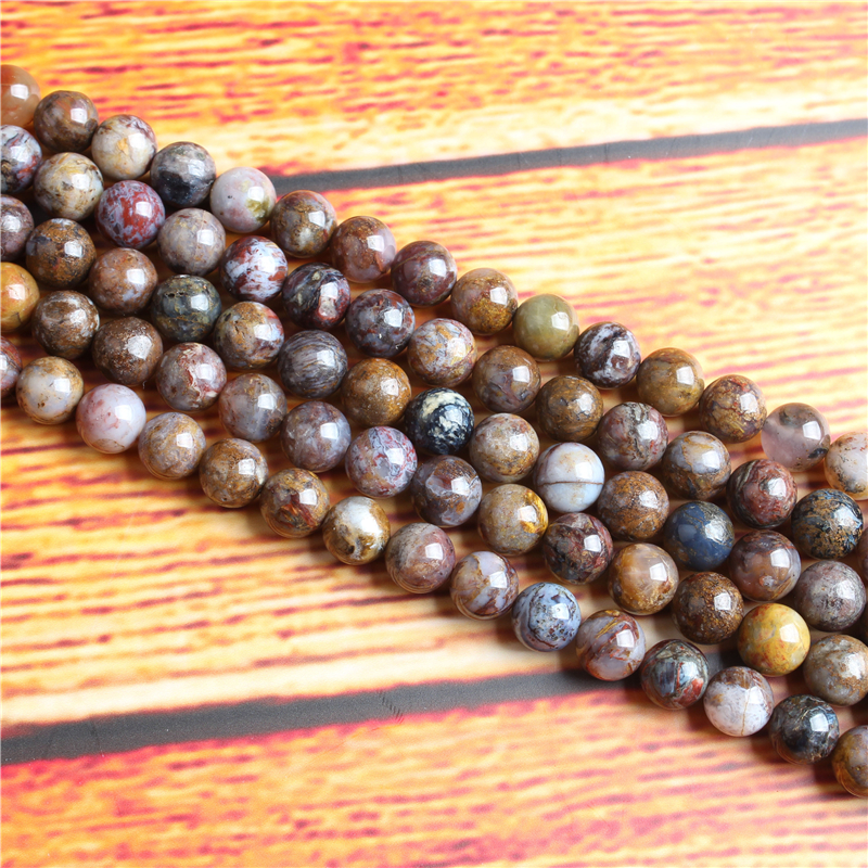 Peter Stone Natural Stone Bead Round Loose Spaced Beads 15 Inch Strand 4/6/8 / 10mm For Jewelry Making DIY Bracelet Necklace