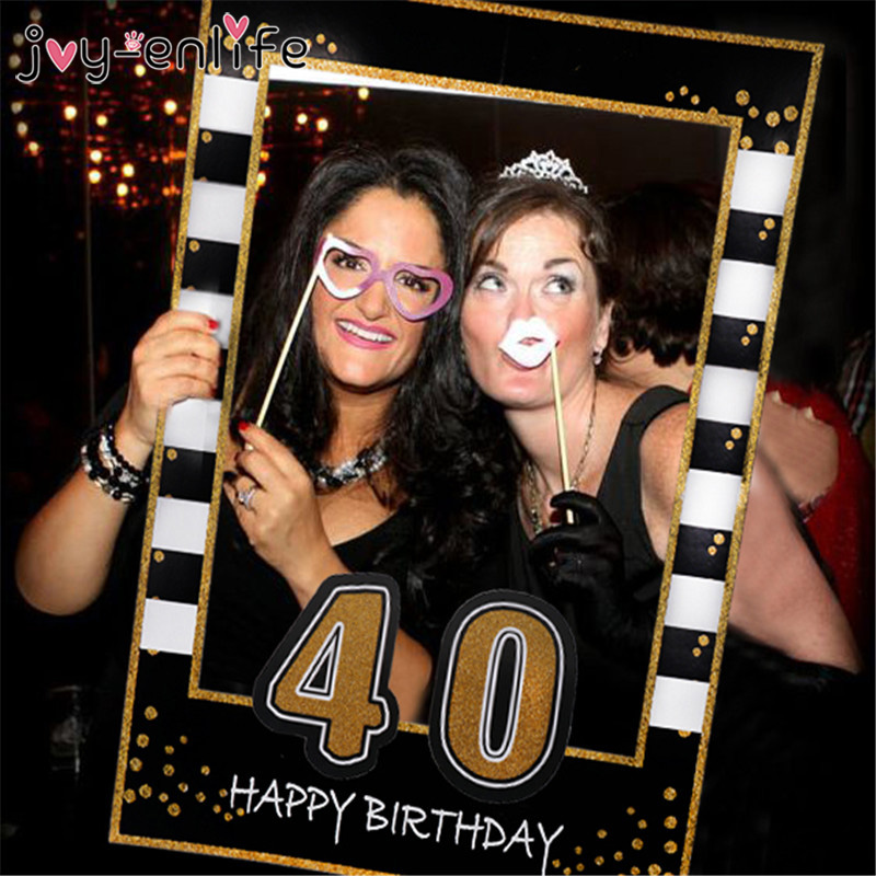 1pcs Happy 30 40 50th Paper Photo Booth Props 1st Baby Adult Birthday Frame Anniversary Years Birthday Decoration Party Supplies