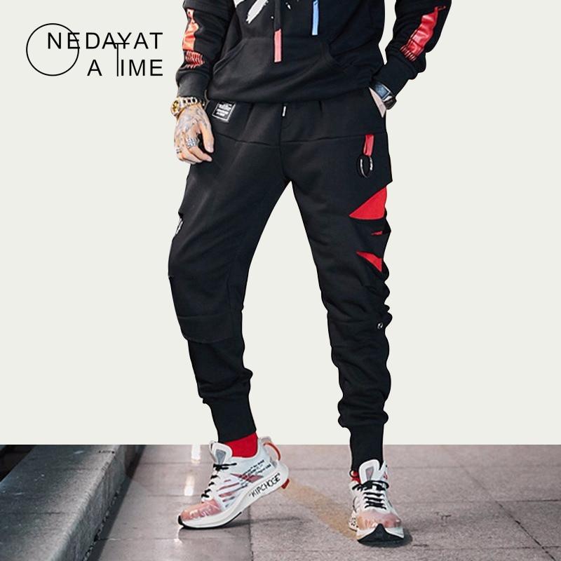 Hip Hop Cargo Pants Pockets Men Streetwear Harajuku Joggers Pants Hip Hop Contrast Color Harem Pants Fashion Casual Trousers