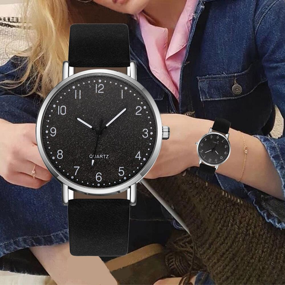 Fashion Women Watches Leather Band Arabic Numerals Dial Reloj Mujer Analog Quartz Wrist Watch Female Elegant Casual Ladies Clock
