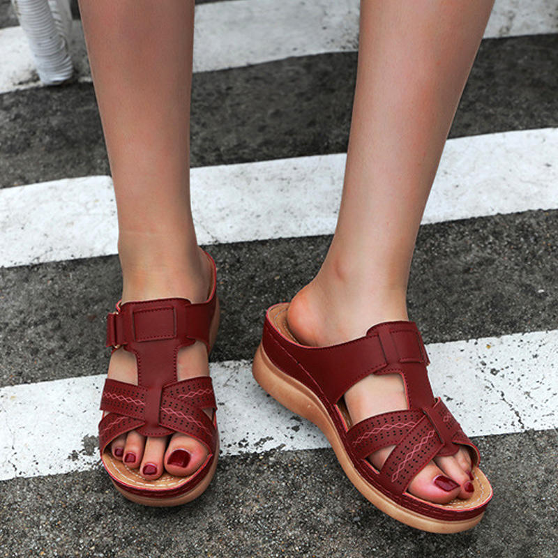 Women Premium Orthopedic Open Toe Sandals Vintage Anti-slip Breathable For Summer (free Gift)