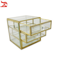 Quality 3Layer Gold Metal Clear Glass Cosmetic Storage Display Box Wedding Engagement Women Jewelry Organizer Drawer Stand Rack
