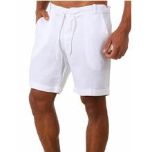 Шорты мужские с карманами, повседневные штаны, на пуговицах, хлопково-льняные Бермуды для бодибилдинга и бега, весна