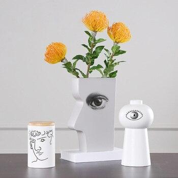 Nordic Creative Men Character Eyes Pattern Home Decoration Ornaments Ceramics Flower Vase Miniature Model Figurine Birthday Gift